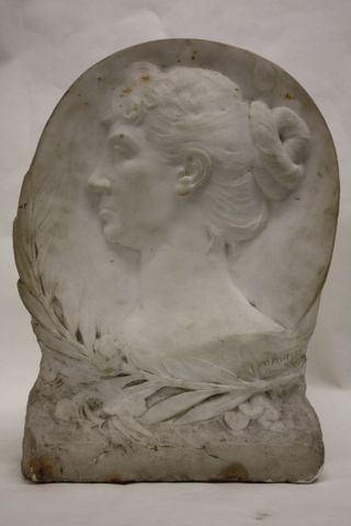 c19th marble relief of a young woman