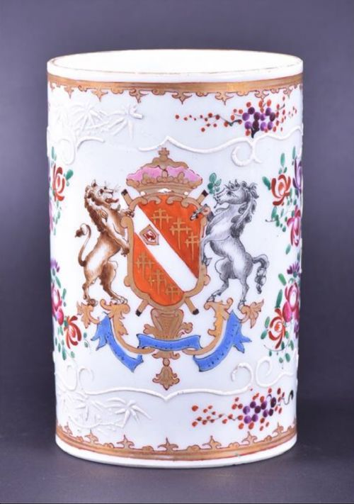 a large armorial crested mug
