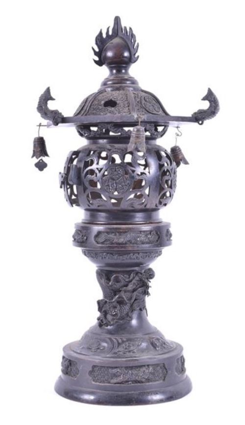 c19th japanese bronze pagoda korro
