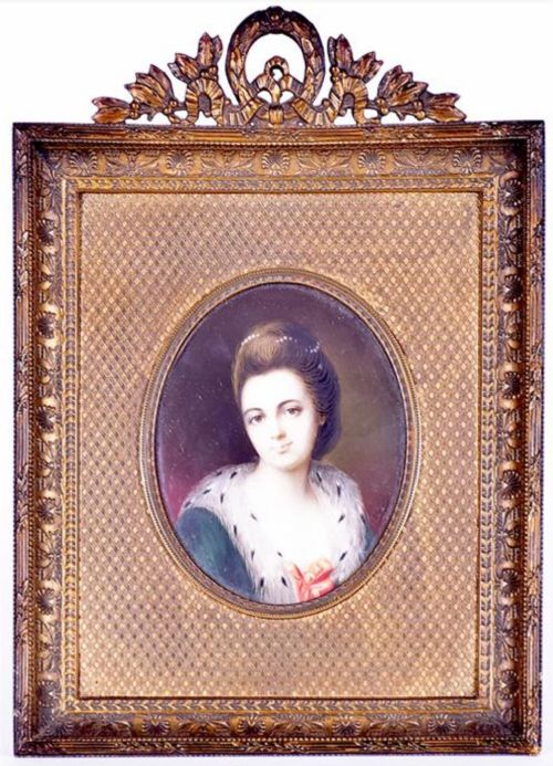 a c19th portrait miniature on ivory of a young lady in a gilt frame