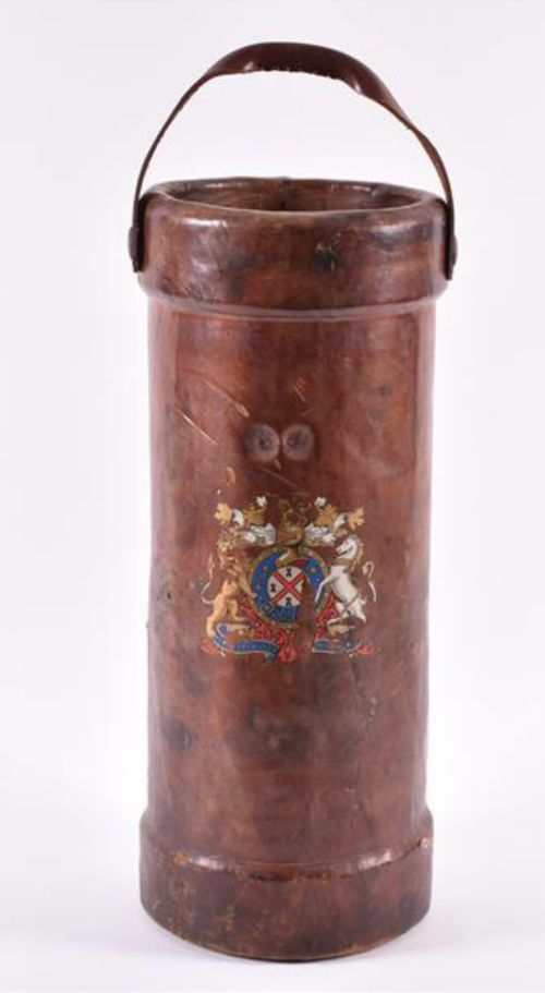 1920s leather munitions carrier with armorial crest