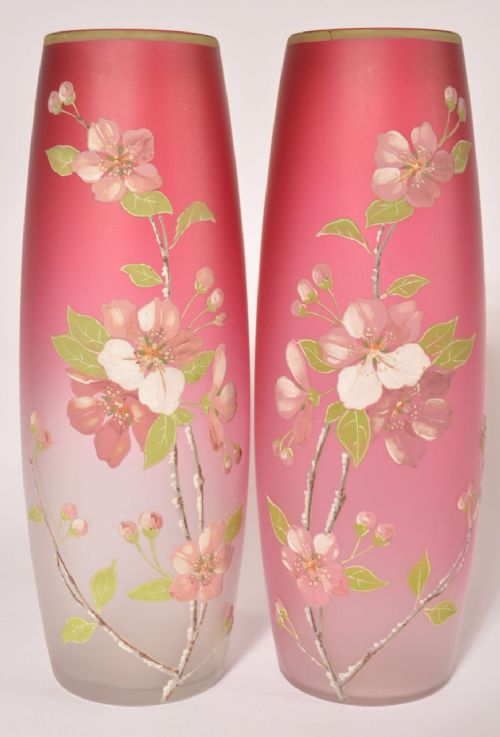 pair of c19th vases in the manner of thomas webb