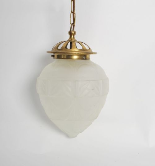 edwardian ceiling light with pressed glass frosted shade