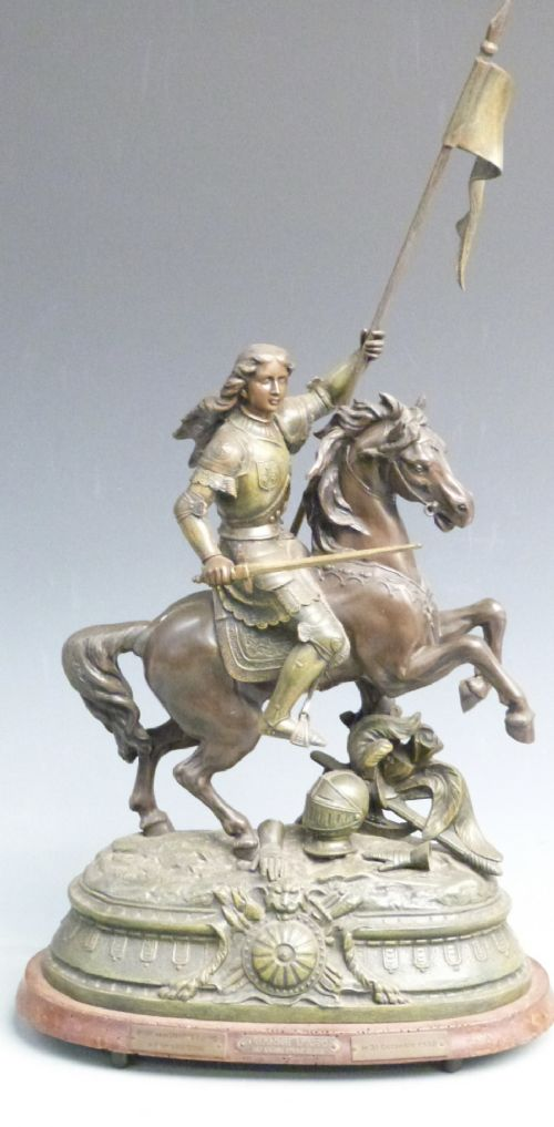 large french spelter figure of jeanne darc au siege dorleans