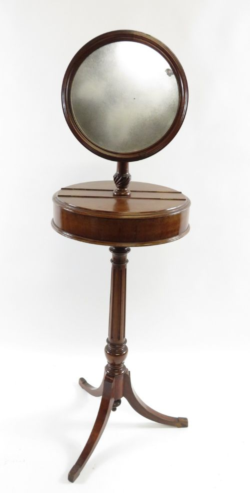 c19th shaving mirror on stand