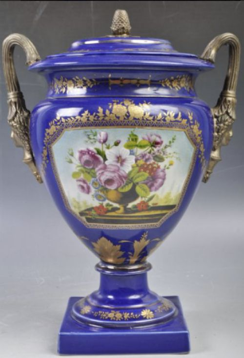 c19th hand painted vase