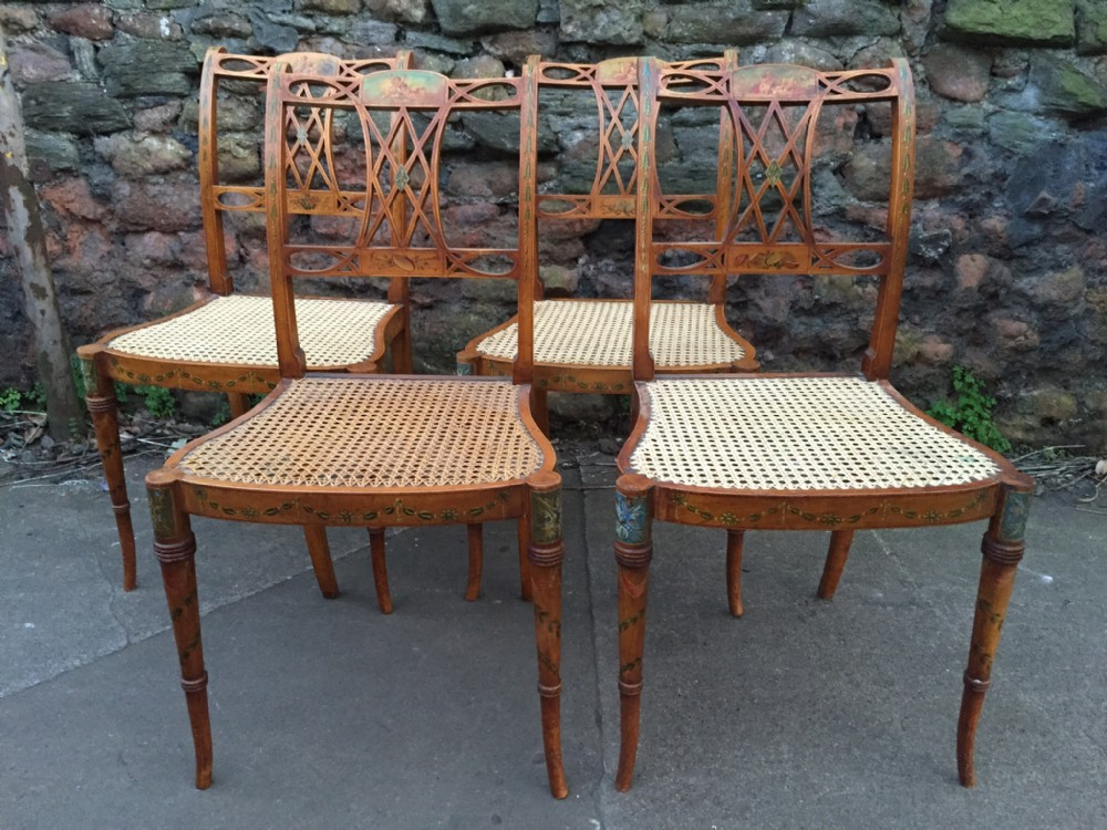 c19th set of four satinwood chairs with painted decoration