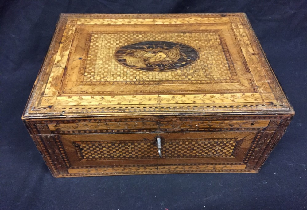 c19th napoleonic prisoner of war straw covered box