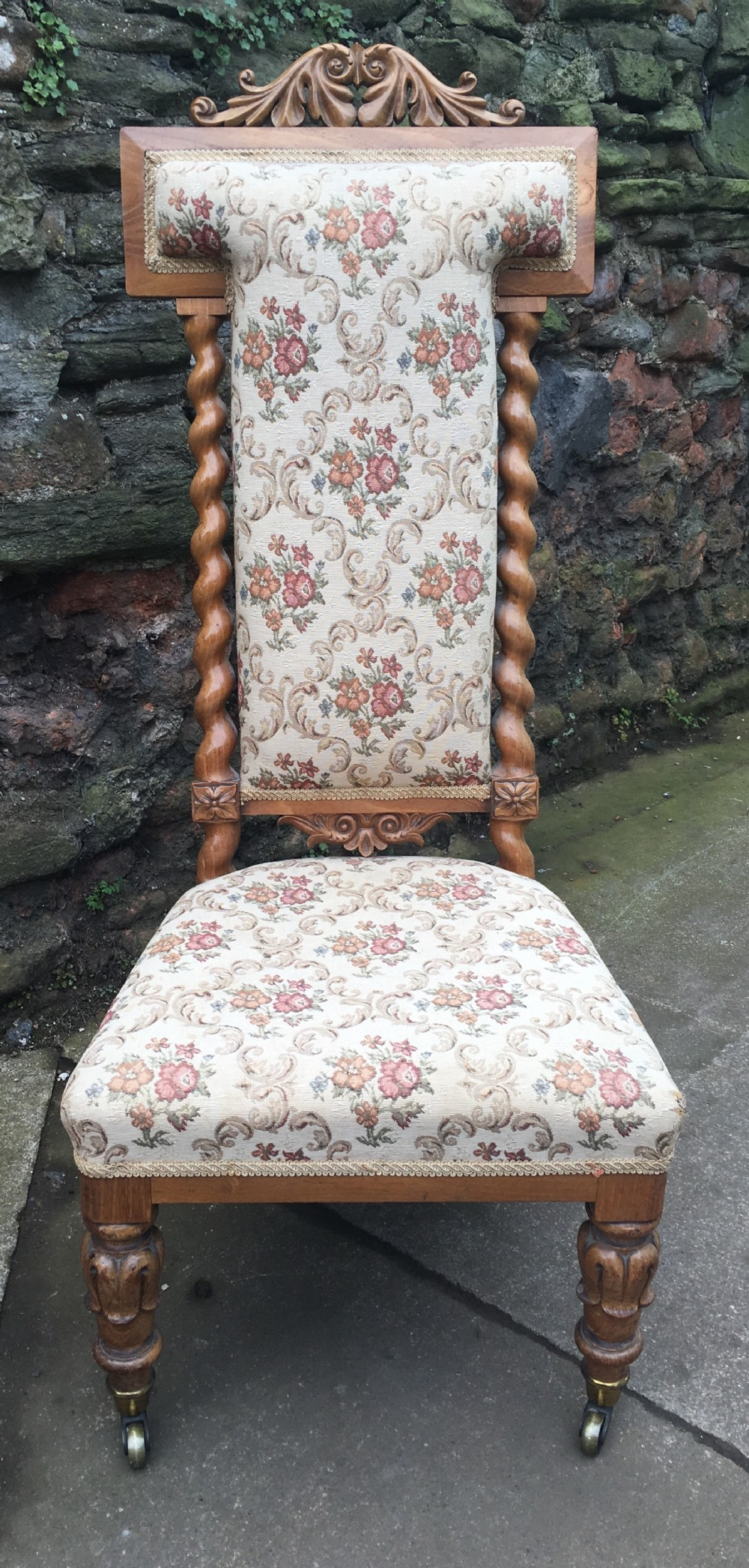 c19th ash wood nursing chair or priedieu