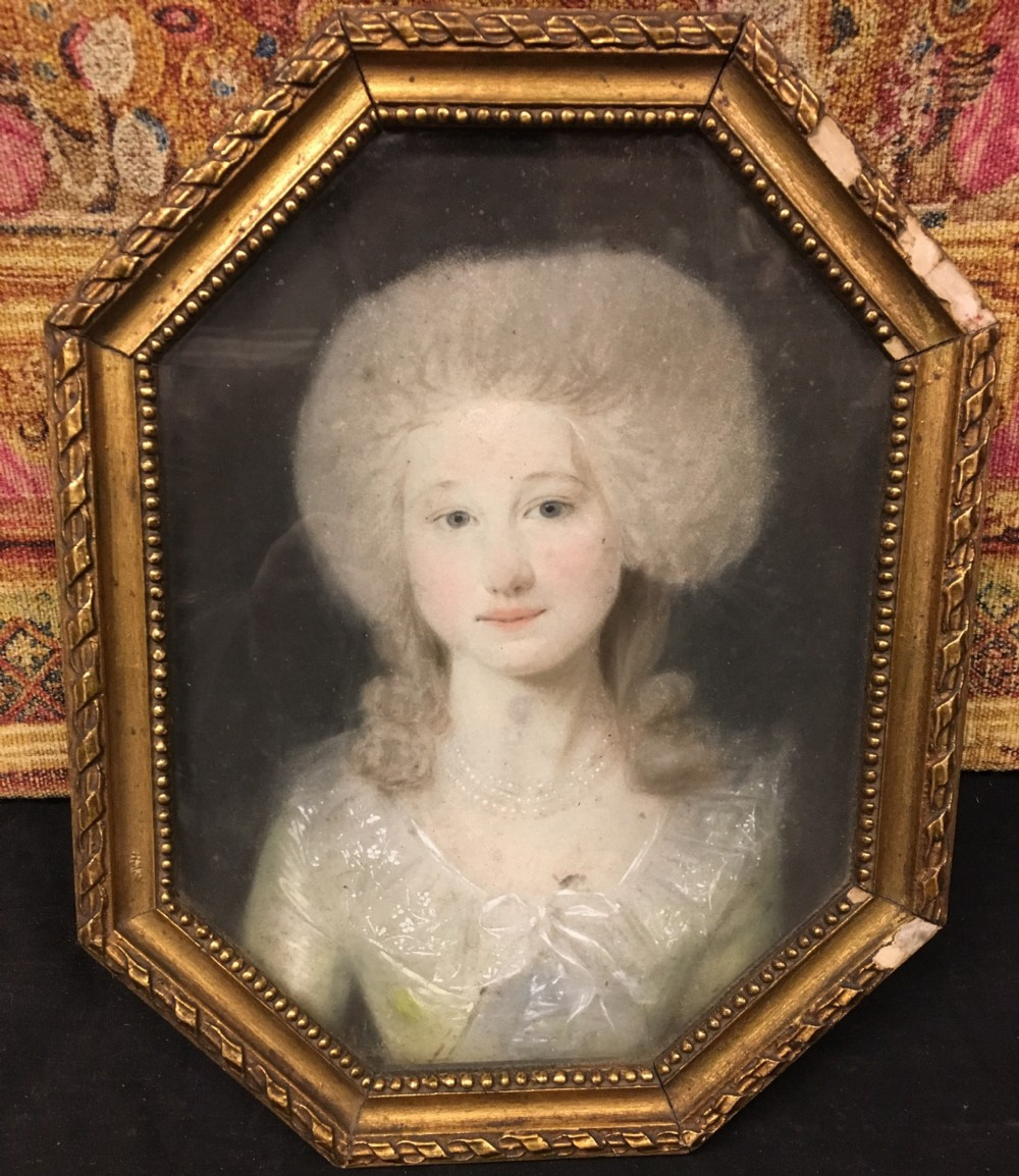 c18th pastel portrait of a young woman by jfa tischbien 17501812