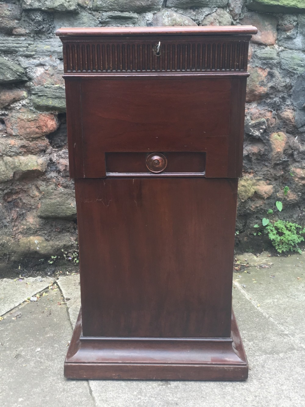 c18th mahogany pedestal with plate warmer and cupboards