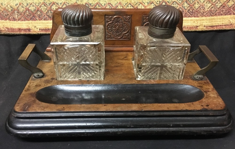 c19th walnut and brass carved double inkstand