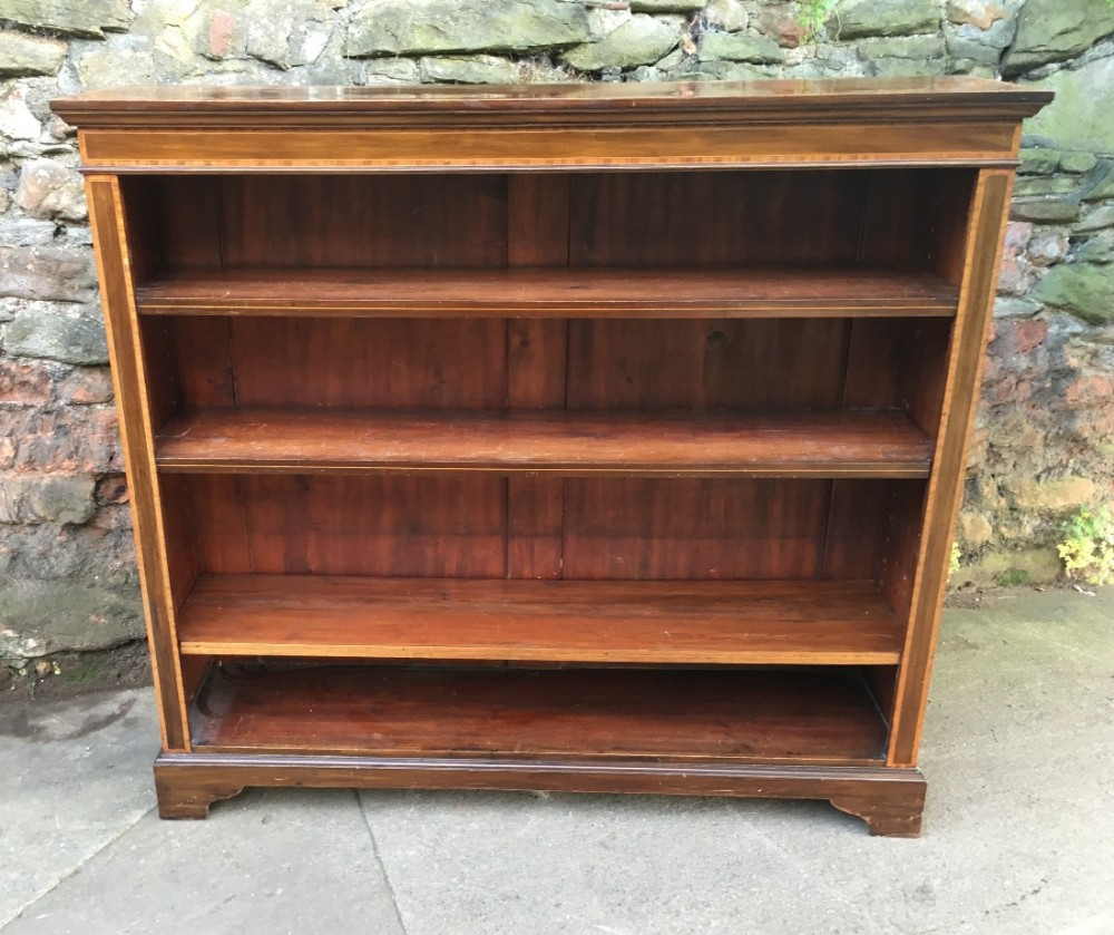 edwardian mahogany and inlaid open bookcase