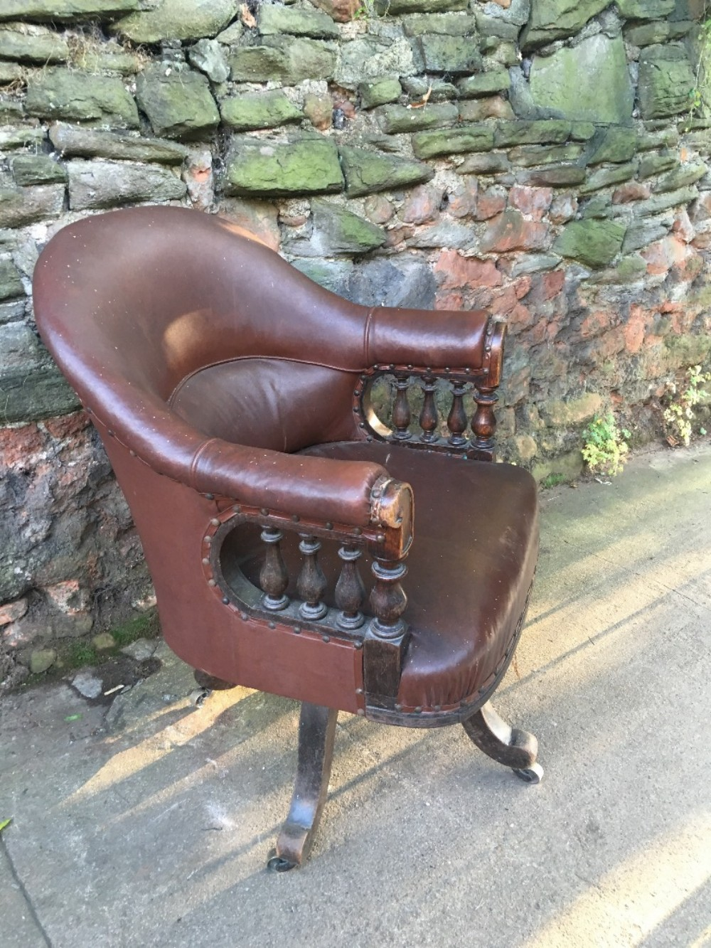 c19th large oak office chair
