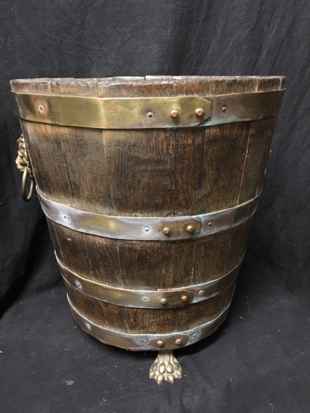 c19th coopered brass bound coal bin