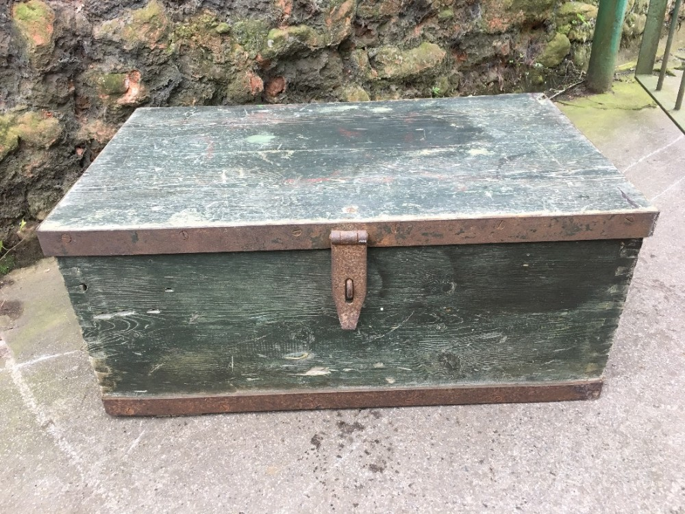 c19th green painted strong box