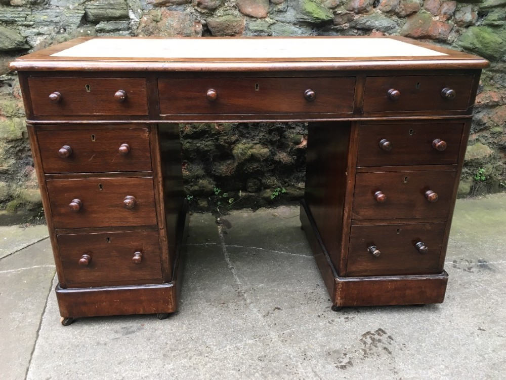 c19th small kneehole pedestal desk