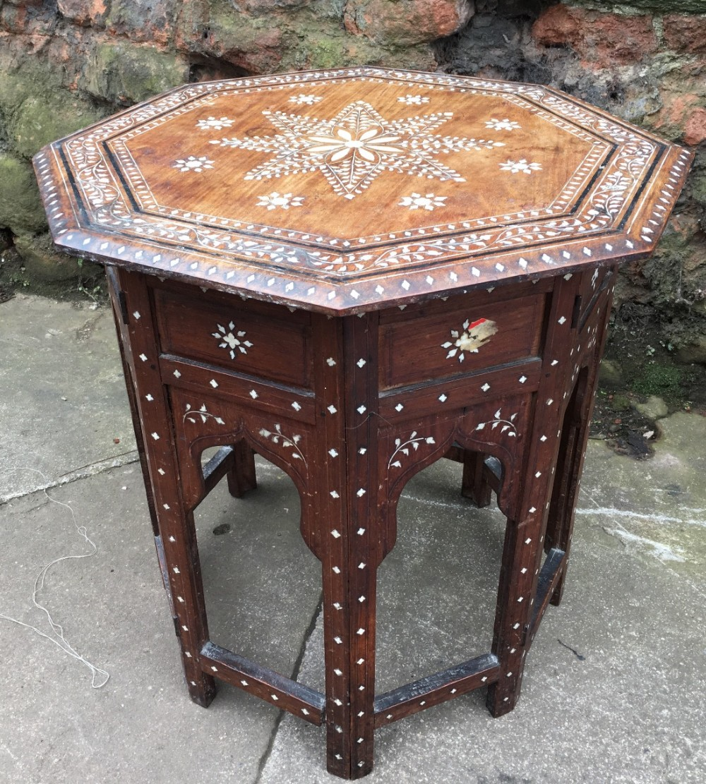 c19th inlaid syrian table