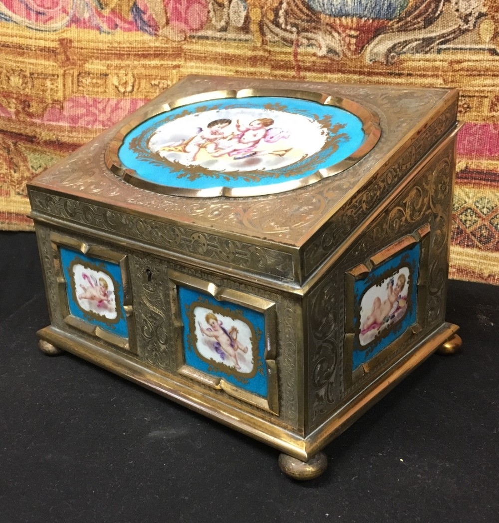 c19th gilt brass and beau celeste panelled stationery box