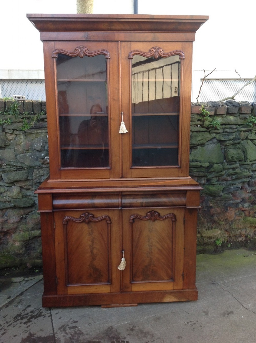 c19th faded mahogany library bookcase