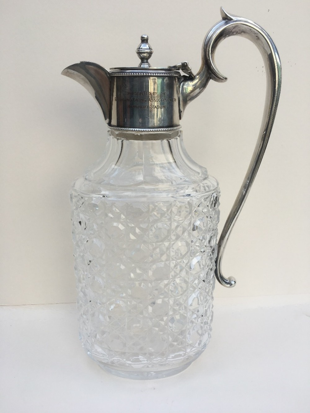 silver plated cut glass claret jug