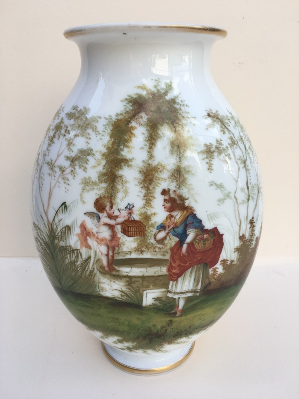 c19th opaline glass vase with hand painted scene