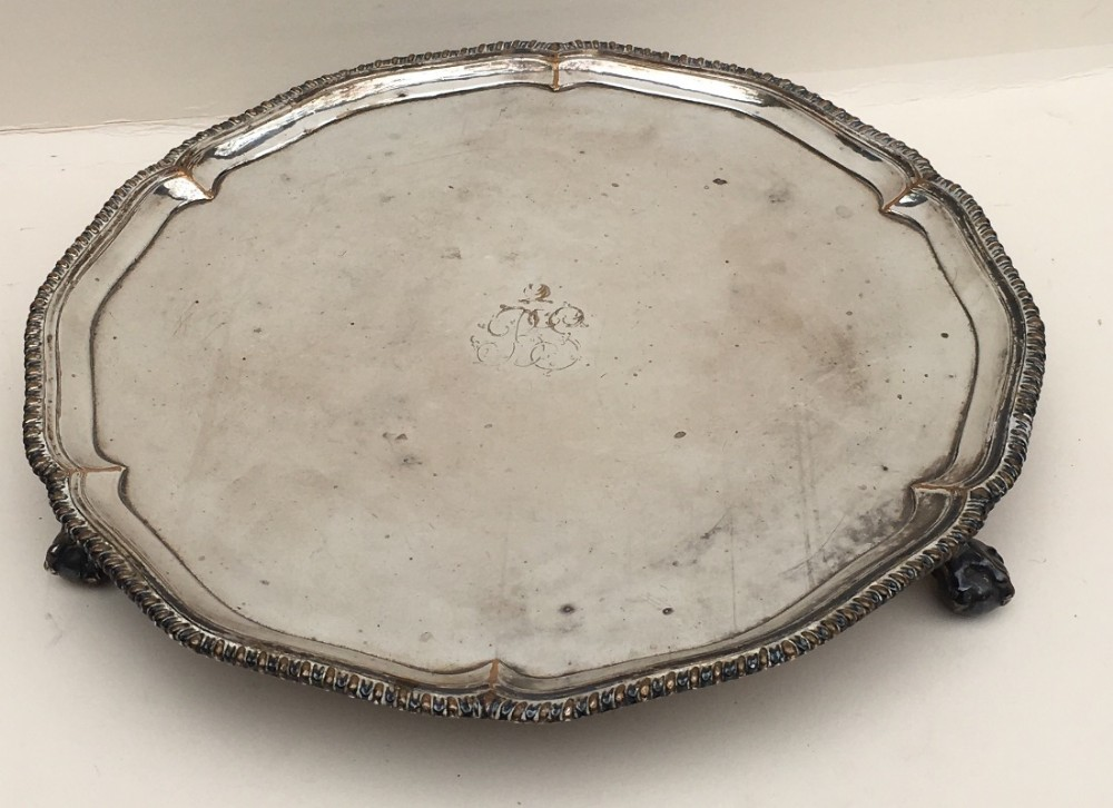 a silver plate on copper salver