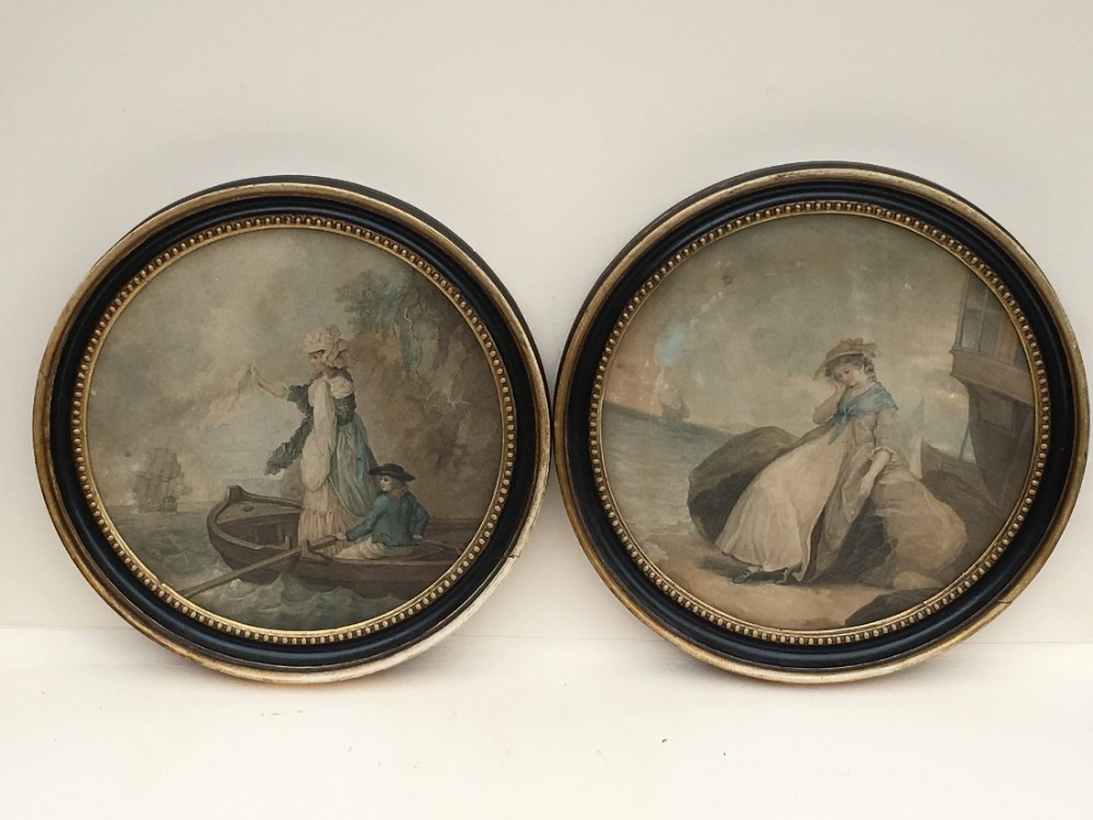 a pair of c18th stipple engravings in original frames