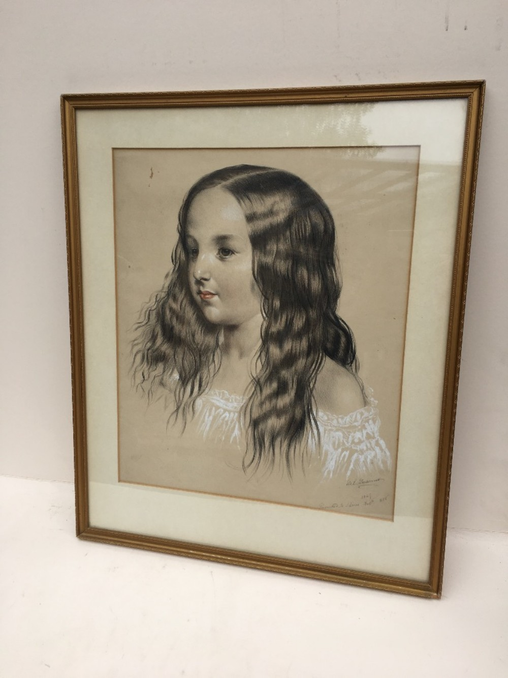 c19th pastel portrait of a young girl