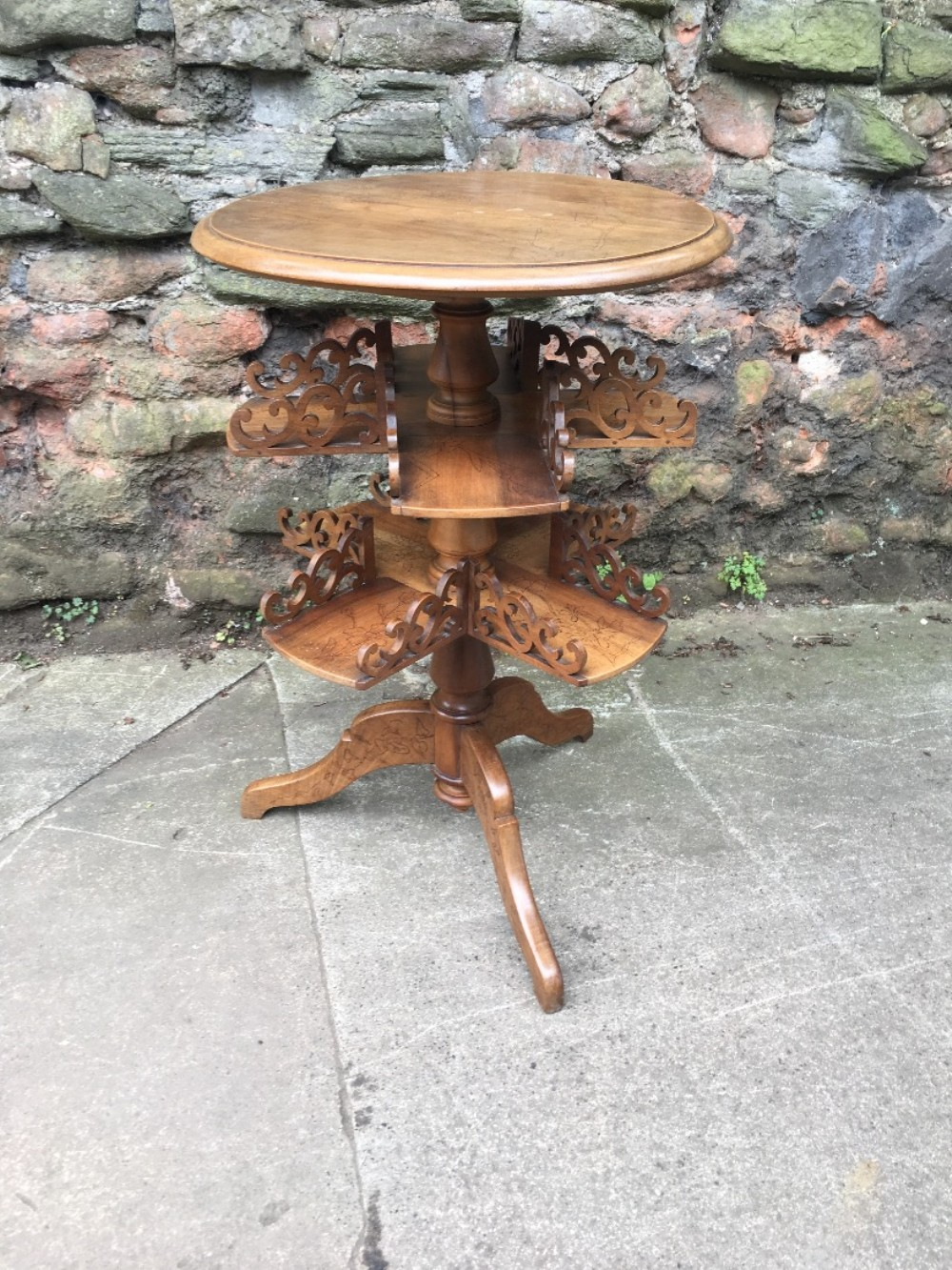 c19th walnut book table