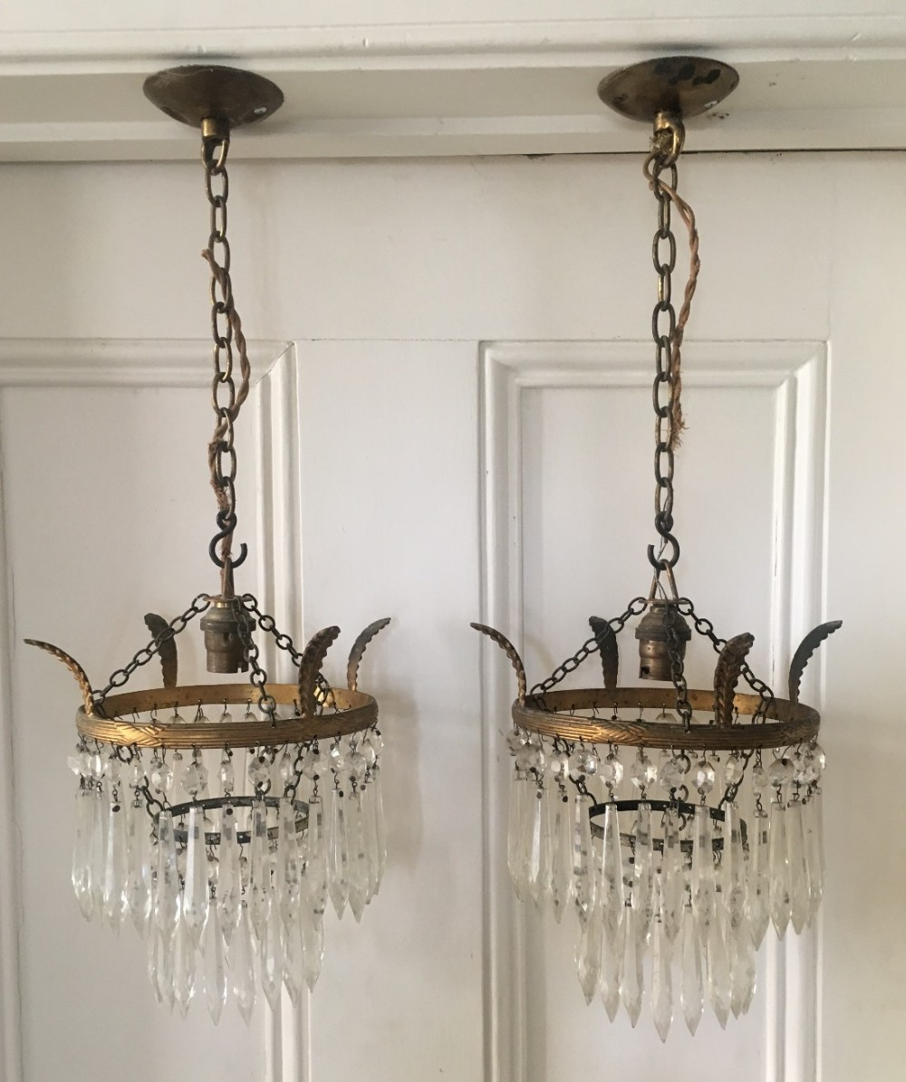 pair of 1920s icicle drop chandeliers