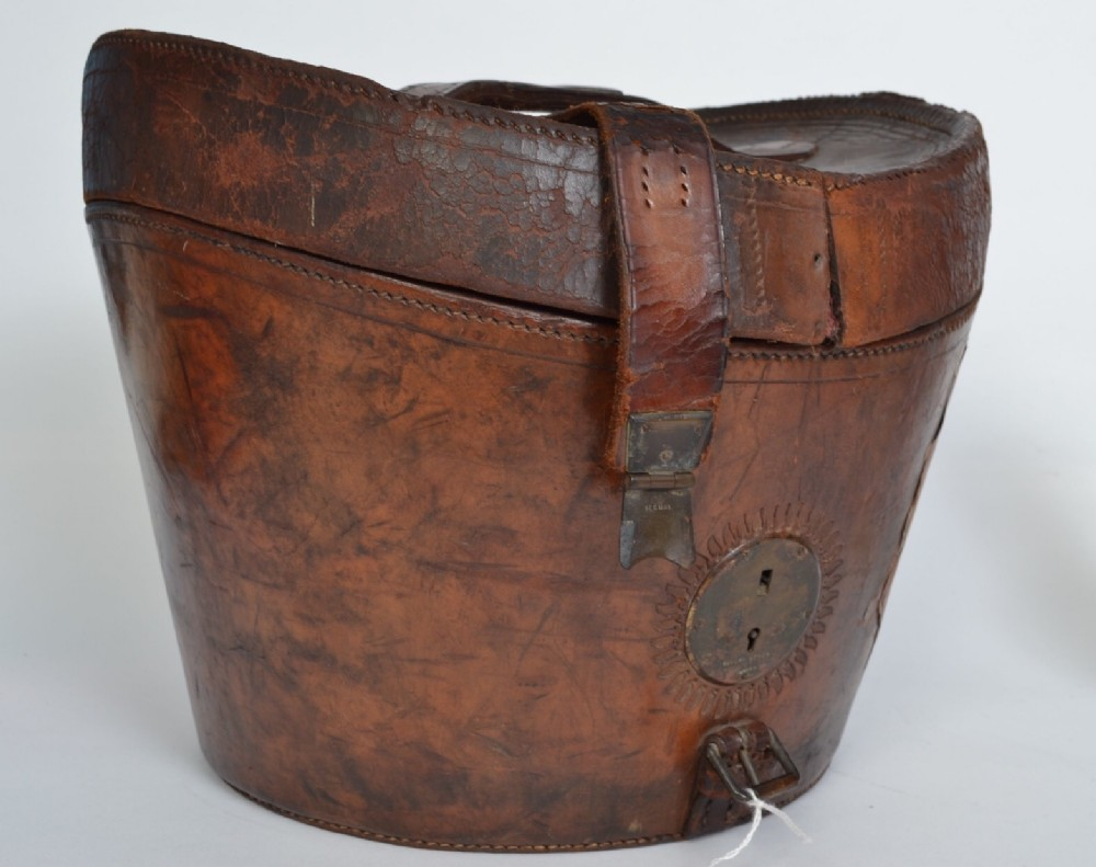 a 19th century stitched tanned leather hat box