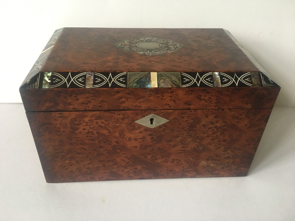 c19th burr amboyna tea caddy