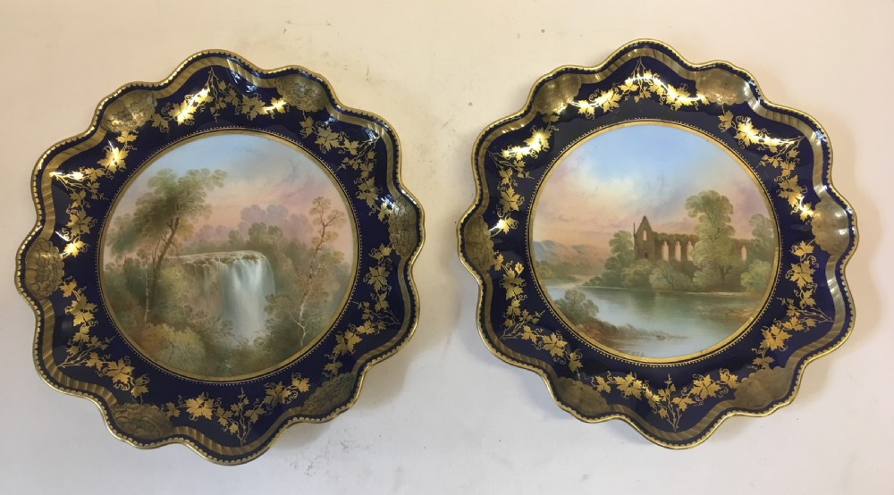 pair of cabinet plates by aynsley c1875