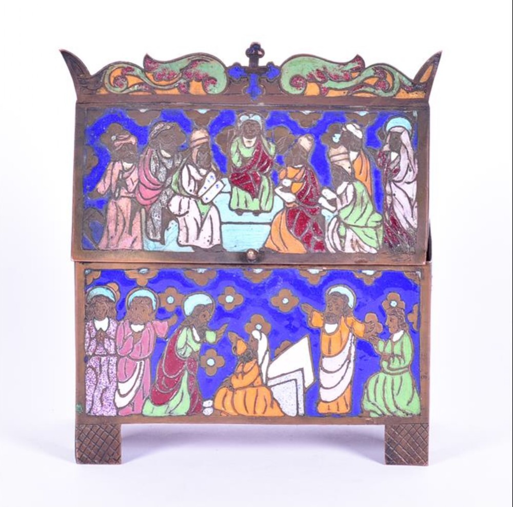 a c19th copper and enamel work replica of a c13th limoges chase or reliquary casket
