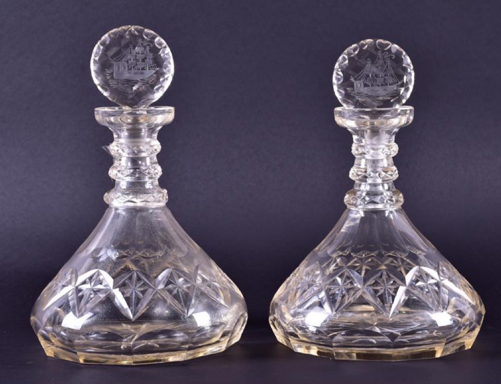 early c19th pair of ships decanters