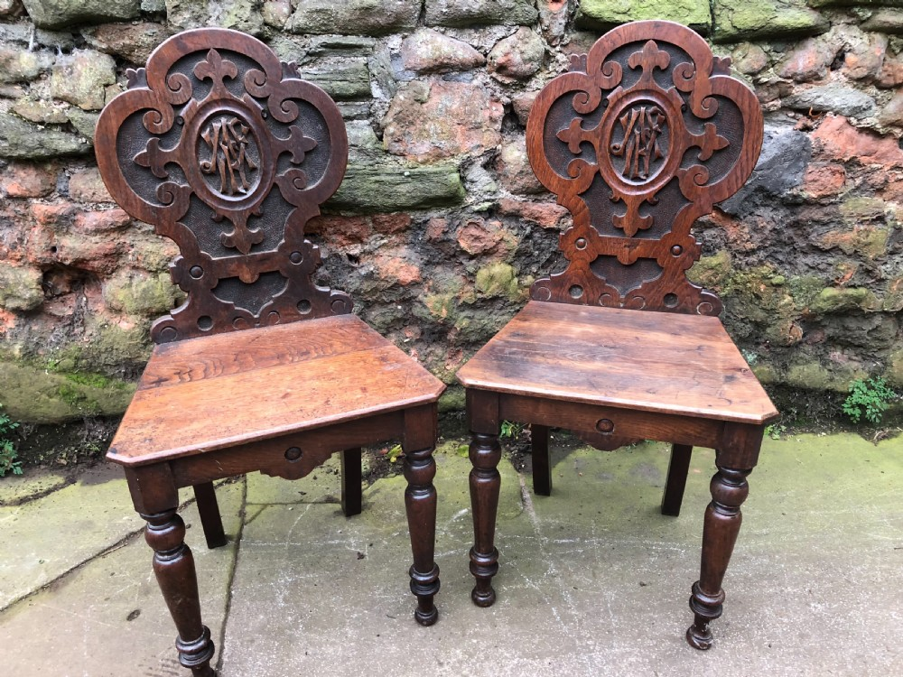 c19th pair of oak hall chairs