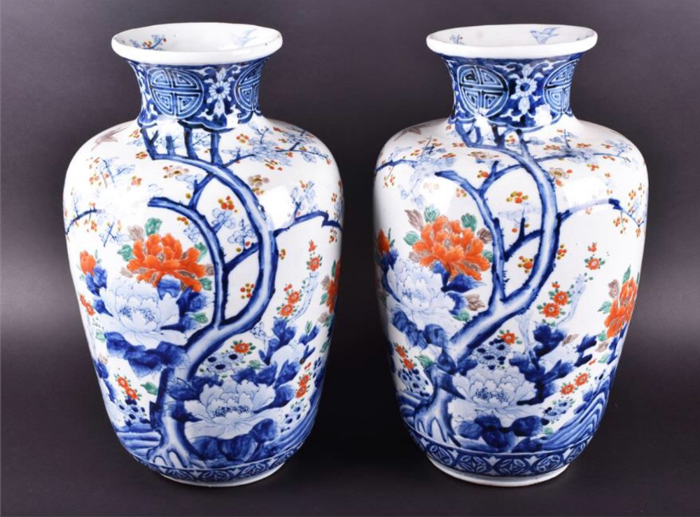 large pair of japanese vases