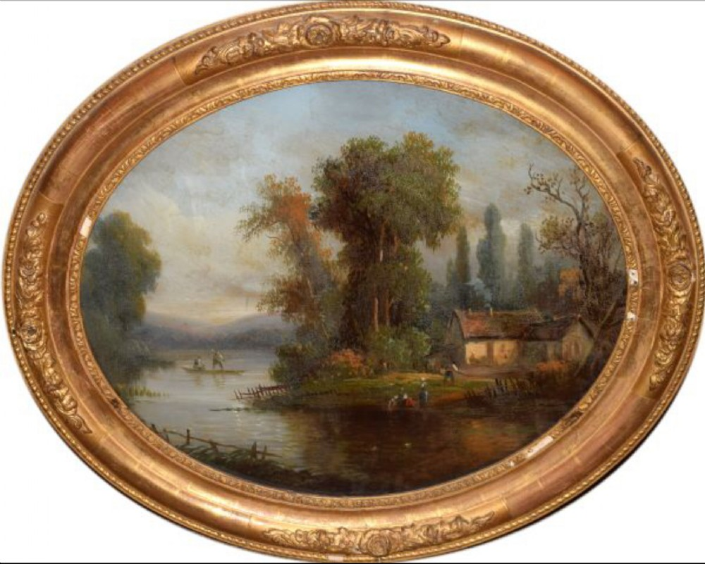 c19th oval reverse glass painting of country scene french