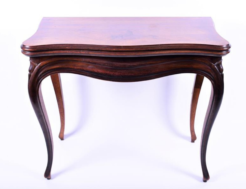 c19th french kingwood veneered card table