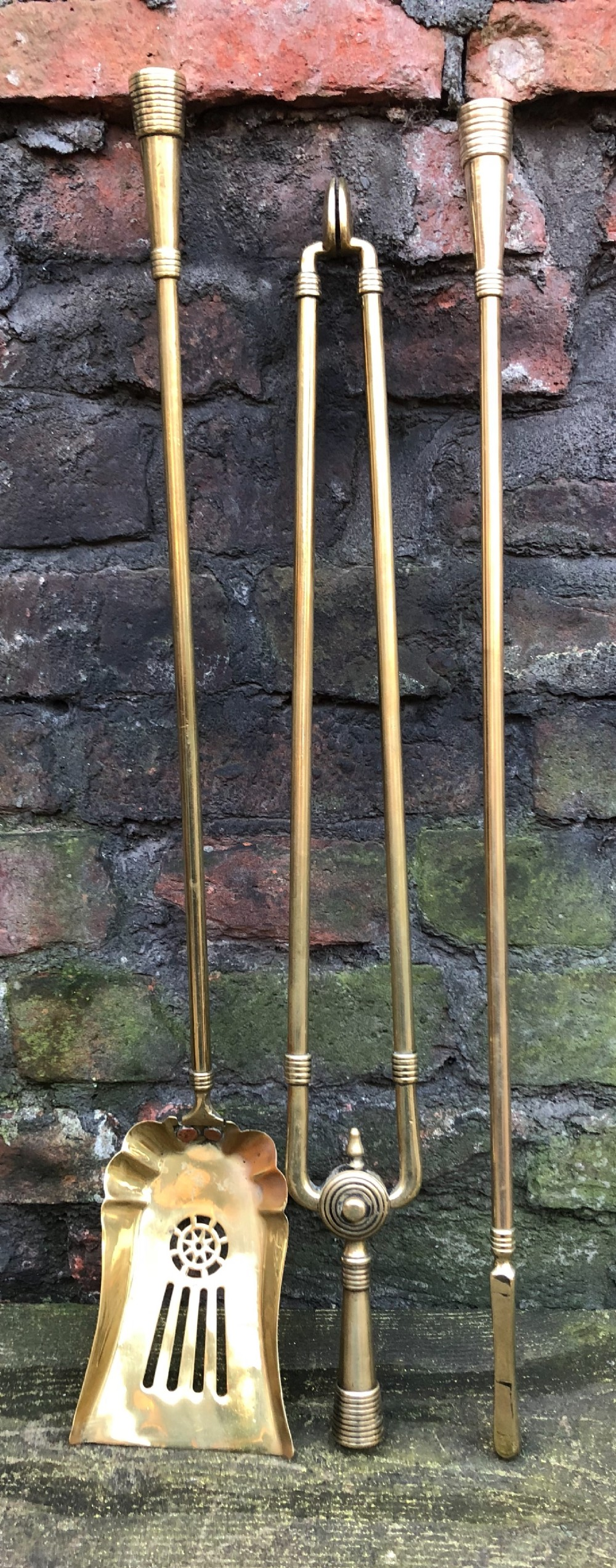 set of aesthetic movement brass fire irons