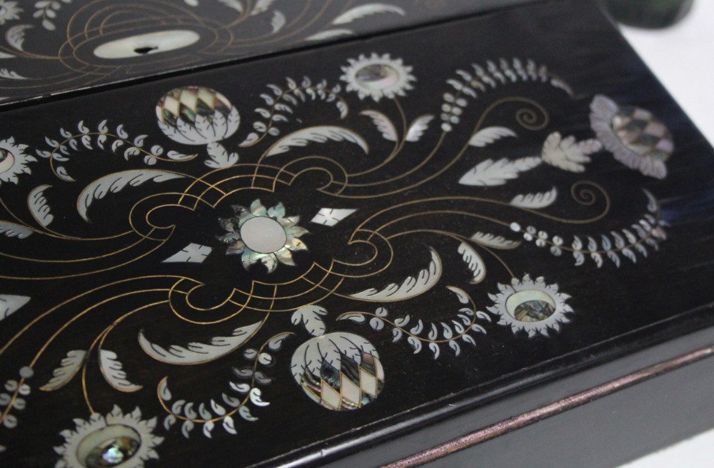 c19th coromandel writing slope with mother of pearl inlay