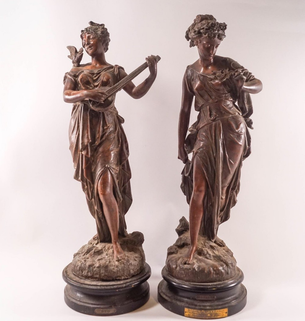 large pair of c19th painted spelter figures of classical maidens