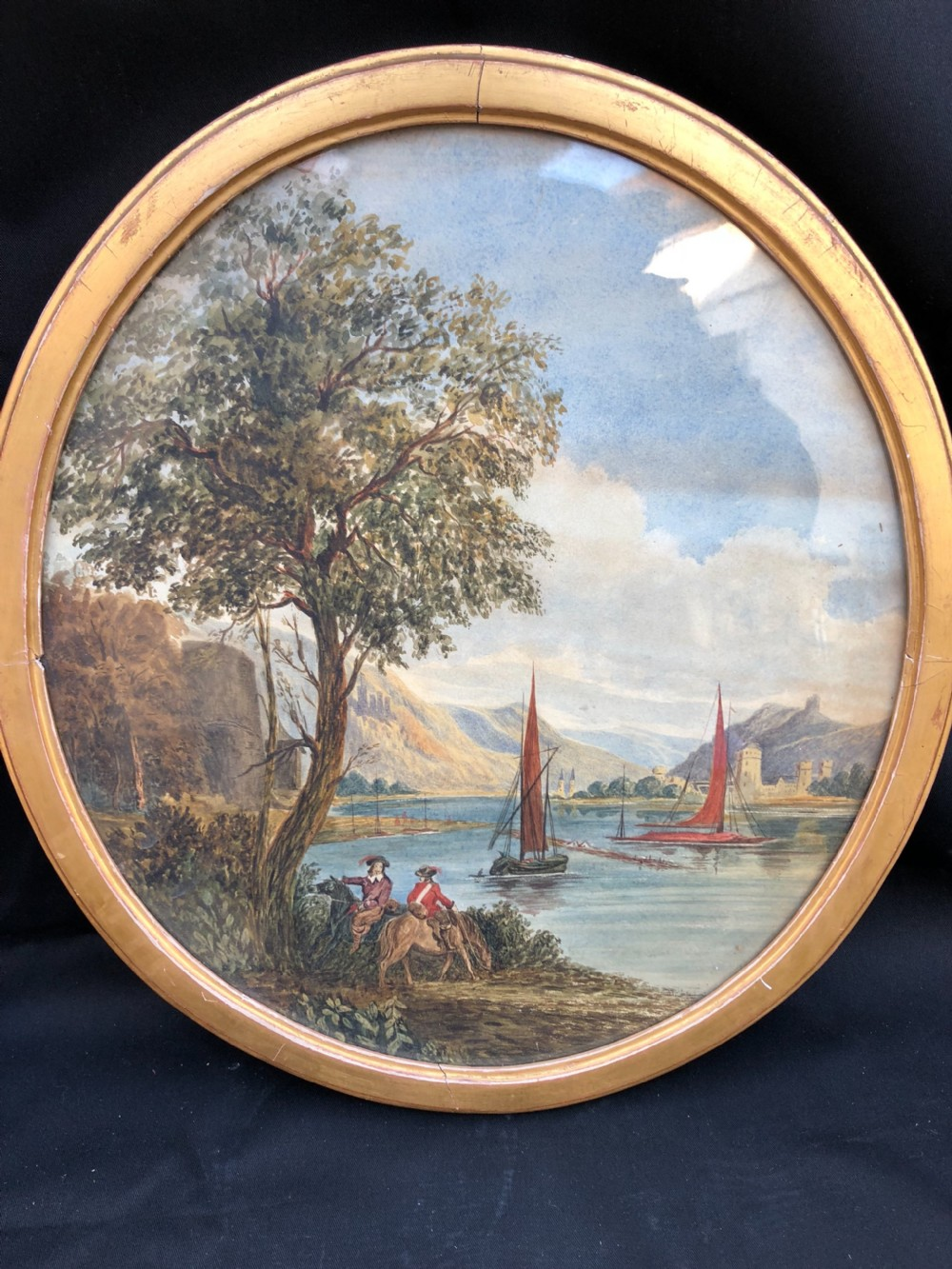 c19th polish watercolour river scene with officers