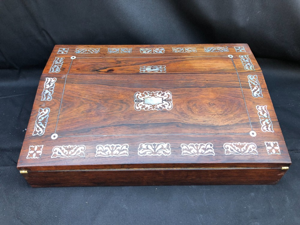 c19th rosewood writing slope inlaid with mother of pearl shell