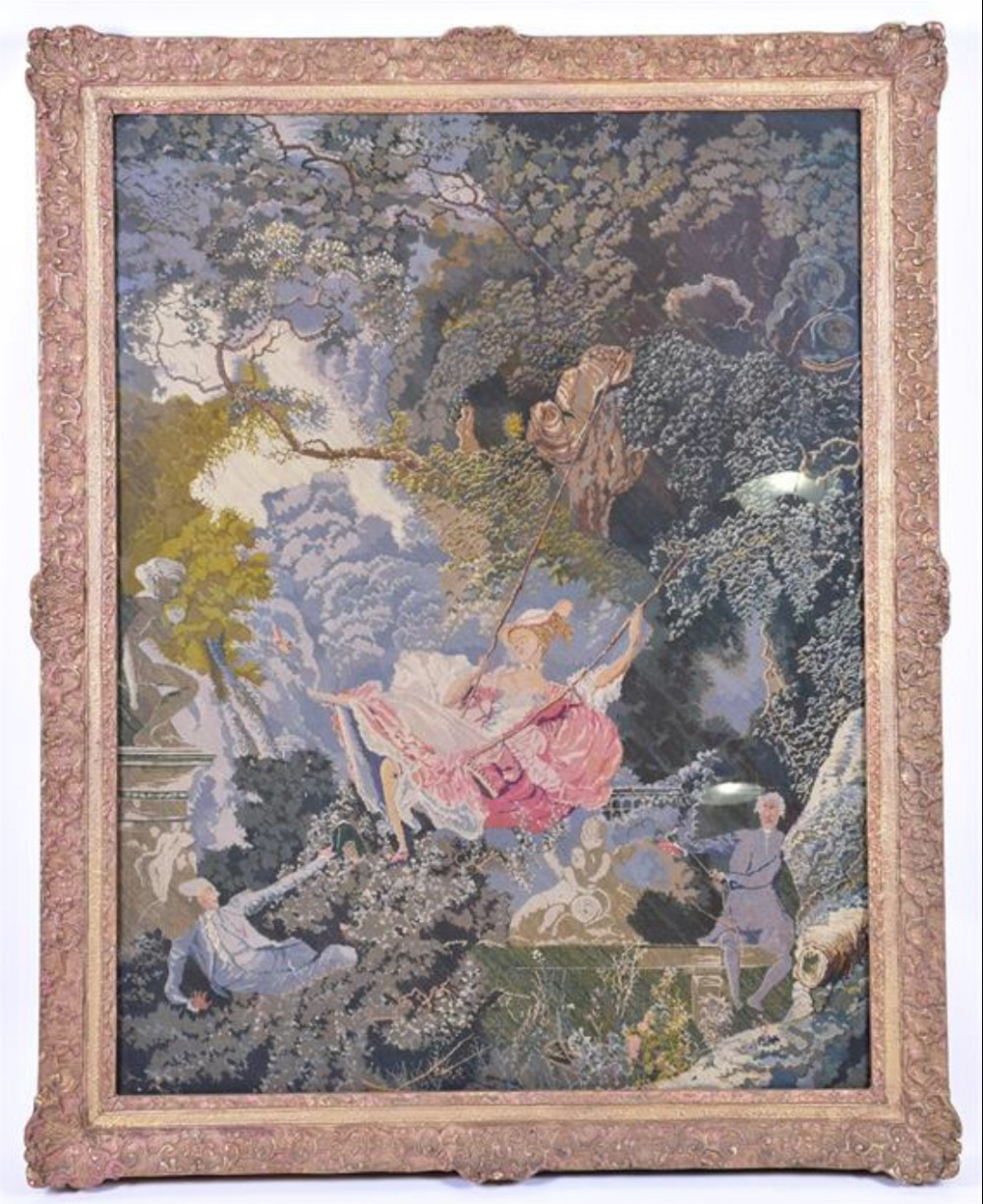 a large petit point tapestry housed in a large gilt frame after fraganard the swing