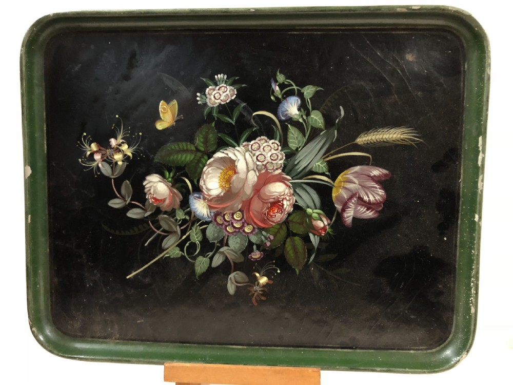 c19th painted lacquer tray