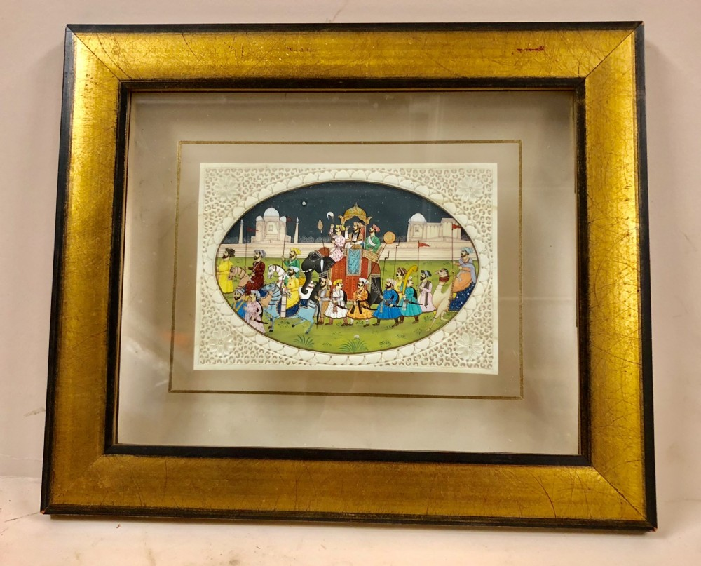 c19th a wonderful indian miniature painting on ivory of a parade