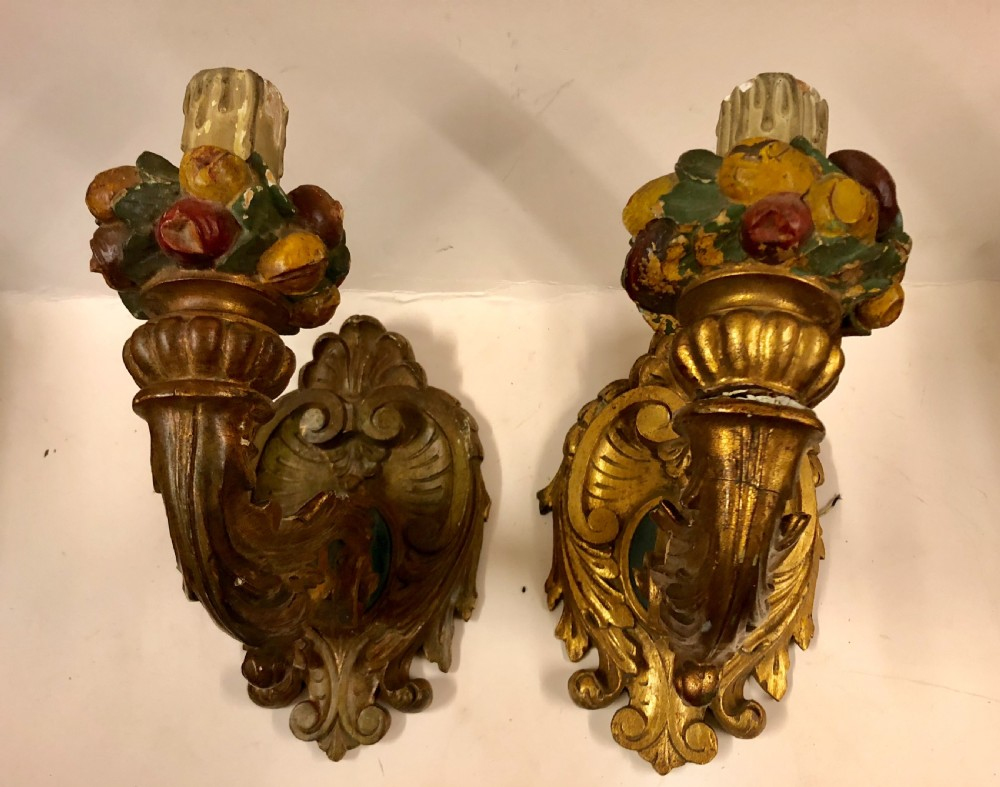 pair of large giltwood wall bracket lights