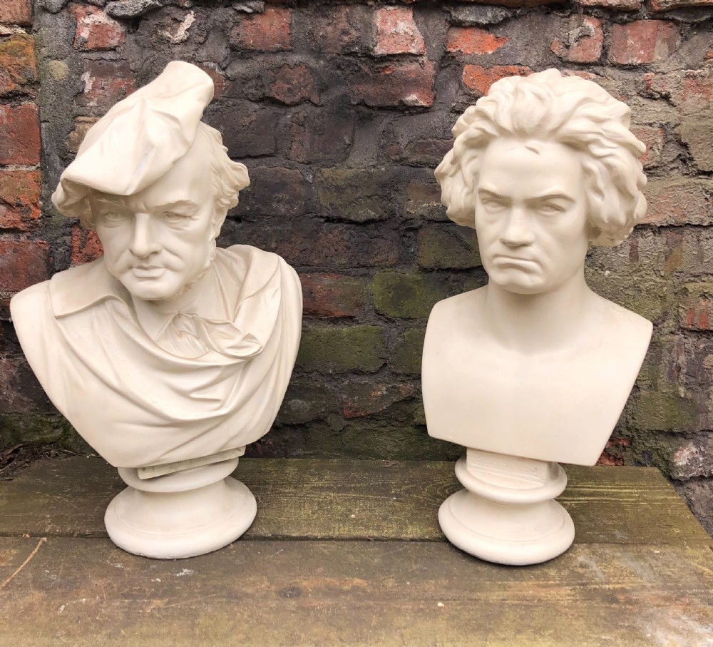 pair of large plaster busts of beethoven and wagner